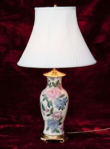 Vintage Chinese Hand Painted Ceramic Vase Table Lamp Floral Brass Base