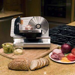 Food Slicer Cutter Deli Meat Cheese Steel Kitchen 7 5 Blade Adjustable Thickness