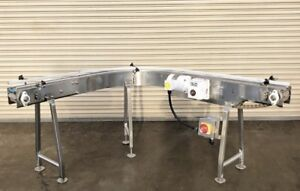 4 5 X 8 Long Stainless Bottle Conveyor With 90 Degree Curve