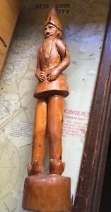 Antique Hand Carved Wooden Elf Gnome Bearded Man W Pointed Hat Sculpture