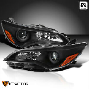 For 2015 2017 Toyota Camry Black Projector Headlights Replacement Lamps Pair