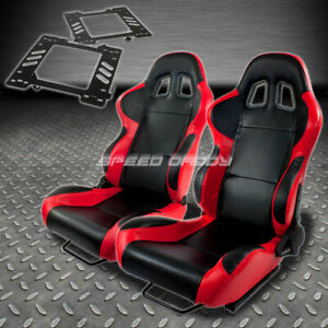 Pair Type 4 Reclining Black Red Woven Racing Seat Bracket For 99 04 Ford Mustang