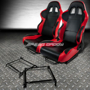 2 X Red carbon Woven Cloth Racing Seats bracket For 88 91 Honda Crx Dx si Ee Ef