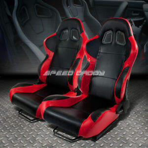 X2 Full Reclinable Woven Cloth Red Black Carbon Fiber Look Racing Seats Slider