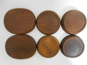 Gorham Wooden Stand Base Plate 2 Oval 4 Round 6 Piece Lot