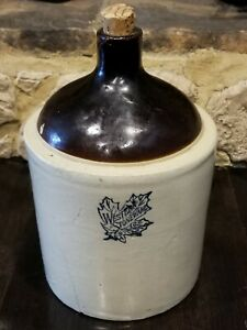 Vintage Western Stoneware 1 Gallon Maple Leaf Whiskey Jug Crock With Crack