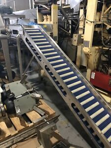 12 Stainless Steel Incline Conveyor With Intralox Style Belt