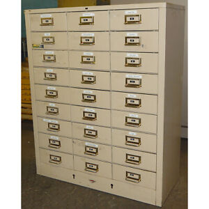 Cole Steel Vintage Industrial 27 Drawer Metal Cabinet Tan 12 1 4 Deep Drawers