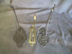 Antique Cast Iron Brass 3 Plant Or Bird Cage Hangers Nice Variety Ksc60