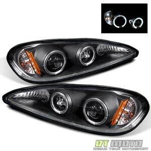 Black 99 05 Pontiac Grand Am Led Dual Halo Projector Headlights Lamps Left Right