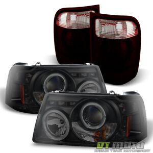 Fits 01 05 Ford Ranger 2in1 Black Smoke Led Halo Headlights W corner tail Lamps