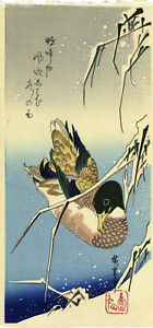 Outstanding Hiroshige Japanese Woodblock Print Wild Duck In Reeds And Snow