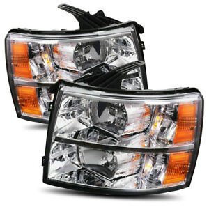 For 07 13 Silverado 1500 07 14 2500 3500hd Chrome Crystal Headlights Replacement