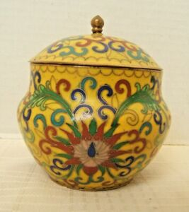 Very Nice Chinese Covered Bowl Box Cloisonne Yellow Well Done
