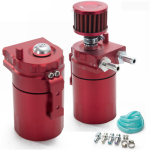 Aluminum Baffled Oil Catch Can Reservoir Tank 400ml Breather Filter Red