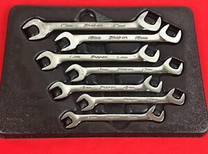 Snap On Metric 7 Piece 4 Way Angle Head Open End Wrench Set 10mm 15mm