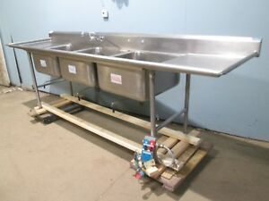 advance Heavy Duty Commercial S s 126 l nsf 3 Compartments Sink W faucet
