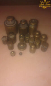 Antique Vintage Set 17 Pc Brass Balance Weights Collectibles Grams Scale Weight
