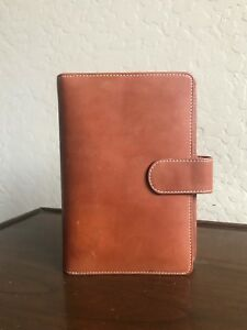 Levenger Caramel Tan Leather Compact Mini Planner Binder Organizer 6 Rings