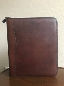 Folio Brown Leather Day Timer Planner 8 5x11 Monarch Franklin Covey 7 Rings