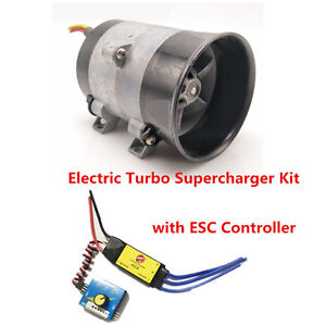 12v Car Electric Turbo Supercharger Kit Air Intake Fan Boost Thick Wire W Esc