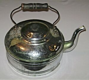 Antique Revere Tin Plated Copper Tea Kettle Goose Neck Spout