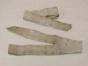 Lot Antique Metallic Silver Thread Trim Ribbon 2 Pcs 44 39