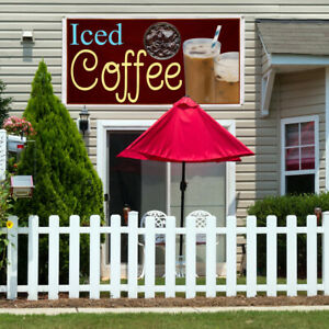 Vinyl Banner Sign Iced Coffee Restaurant Cafe Bar Marketing Advertising Brown