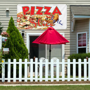 Vinyl Banner Sign Pizza By The Restaurant Cafe Bar Style S Outdoor White