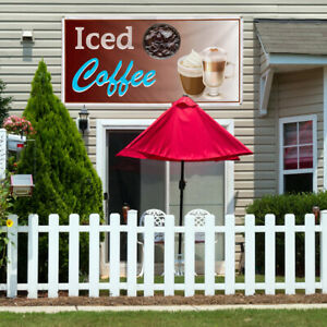 Vinyl Banner Sign Iced Coffee Restaurant Cafe Bar Style U Marketing Advertising