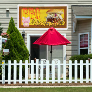 Vinyl Banner Sign Bbq Sandwich Restaurant Cafe Bar Marketing Advertising Brown