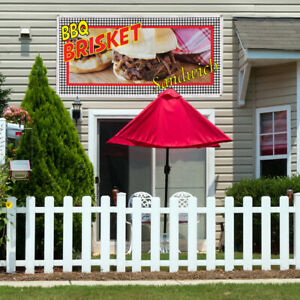 Vinyl Banner Sign Bbq Brisket Sandwich Restaurant Cafe Bar Bbq Outdoor Brown