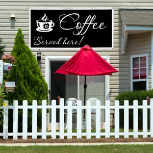 Vinyl Banner Sign Coffee Served Here Restaurant Cafe Bar Marketing Advertising
