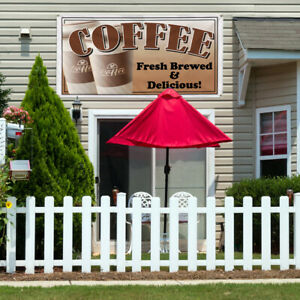 Vinyl Banner Sign Coffee Fresh Restaurant Cafe Style T Marketing Advertising