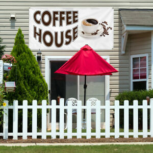 Vinyl Banner Sign Coffee House Restaurant Cafe Bar Style U Coffee House White