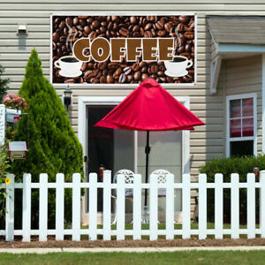 Vinyl Banner Sign Coffee Restaurant Cafe Bar Coffee Marketing Advertising Brown