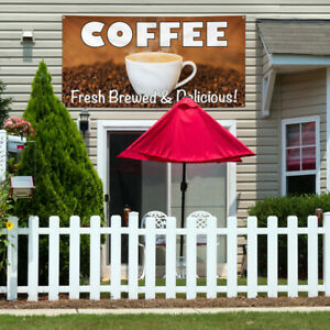 Vinyl Banner Sign Coffee Fresh Brewed Delicious 1 Style A Coffee Brown