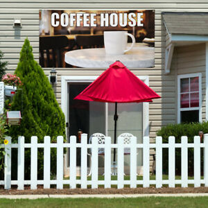 Vinyl Banner Sign Coffee House 1 Style B Outdoor Marketing Advertising Brown