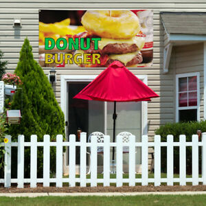 Vinyl Banner Sign Donut Burger Restaurant Food Marketing Advertising Yellow