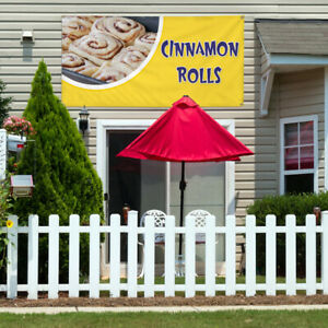 Vinyl Banner Sign Cinnamon Rolls 1 Style A Marketing Advertising Yellow