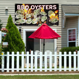 Vinyl Banner Sign Bbq Oysters Restaurant Food Marketing Advertising Black