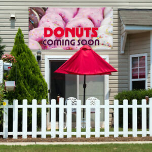 Vinyl Banner Sign Donut Coming Soon Food Beverage Marketing Advertising White