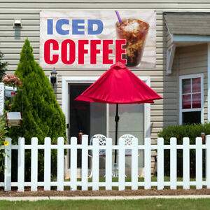 Vinyl Banner Sign Iced Coffee 1 Style D Outdoor Marketing Advertising White