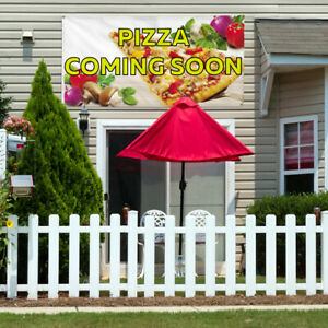 Vinyl Banner Sign Pizza Coming Soon Outdoor Marketing Advertising Yellow