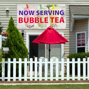 Vinyl Banner Sign Now Serving Bubble Tea Outdoor Marketing Advertising White