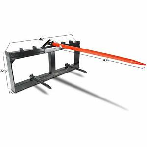 43 Tractor Hay Spear Attachment 3000 Lb Capacity Skid Steer Loader Quick Attach