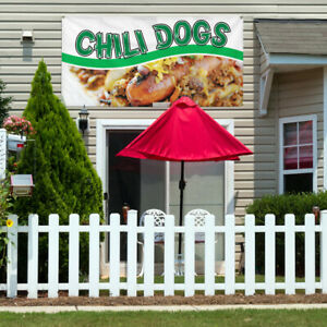 Vinyl Banner Sign Chili Dogs 1 Style A Outdoor Marketing Advertising White
