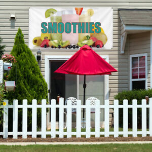 Vinyl Banner Sign Smoothies 1 Style A Outdoor Marketing Advertising White