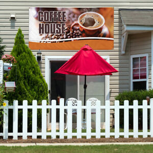 Vinyl Banner Sign Coffee House 1 Style A Outdoor Marketing Advertising White