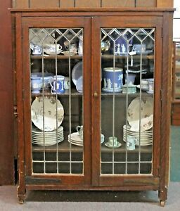 Antique Mission Style Oak Bookcase Cabinet W Leaded Beveled Glass Doors